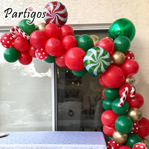 1Set 75Pcs Merry Christmas Balloons Garland Red Green DIY Ballon Chain Helium Round Foil Candy Globos Santa Claus Navidad Canes 1027
