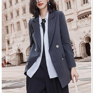Zhisilao Stripe Blazer Women Plus Size Office Lady Double Blazer Blazer Coat Elegante Vintage Manga larga Outwear Winter 2021
