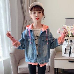 Kız kot örme ceket ilkbahar ve sonbahar 2020 yeni çocuk net KIRMIZI HOODED hırka moda