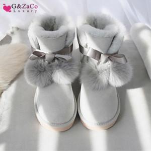 GZACO LUJO LUJO GENUINO SHOYSKINKS BOOTS Zapatos Mujeres Botas de lana de ovejas Australia Botas de nieve Sweet Bow Fox Plazo plano de invierno Zapatos J1220