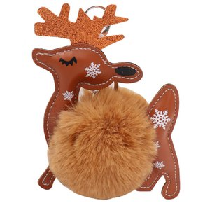 Christmas Keychain Pendant PU Leather Elk Plush Ball Pendant Bag Key Ring Ornament Xmas Small Gift AHA2016