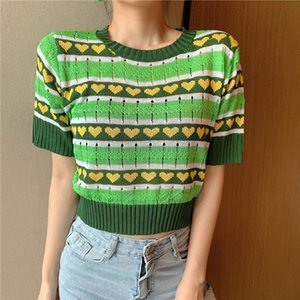 New Women Striped Short Sleeve Green Sweaters Shirts O Neck Cropped Thin Hollow Out Sweater Pullover Crop Top For Female