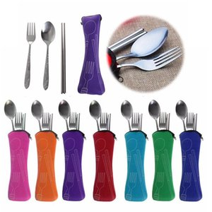 Portable Cutlery Set Travel Camping Flatware Set Stainless Steel Chopstick Fork Spoon Dinnerware Set Useful Wedding Gifts Party OWA1664