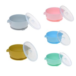 Baby Suction Plate Silicone Feeding Tableware Soft Lid Dinnerware Kids Toddler Assist Dishes BPA Free High Quality Silicone LJ201221