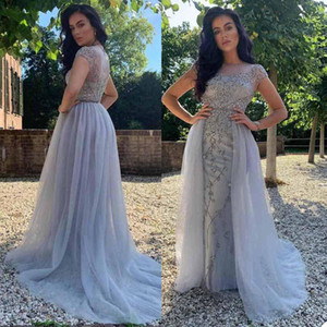 Elegant Evening Dresses Jewel Capped Sleeves Lace Appliques Beads Prom Dresses Custom Made Sweep Train A Line Special Occasion Party Dress
