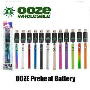 Os mais recentes OOZE torção Pré-aqueça 320mAh Battery Charger Kit Variable Voltage Bud Touch 510 fio Vape Pen Battery Cartridge vaporizador