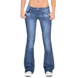2020 Lavados Botão cintura alta boot-cut Jeans Mulheres Casual calças compridas Feminino Streetwear Calças Vintage Ladies Denim Calças