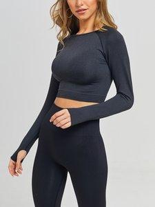 Nuevas mujeres conjuntos de yoga sin fisuras Conjuntos de fitness Cintura Alta Yoga Pantalones Pantalones Leggings + Sujetador deportivo Sportswear Traje largo Manga larga Traje barato Yoga