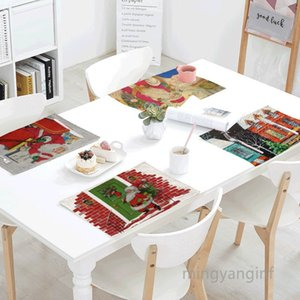 32*45cm Christmas Placemats Heat-Resistant Washable Absorption Christmas Table Mats for Dining Table Decoration MY-inf 0433