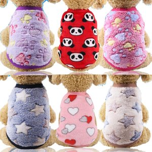 Cute Printed Dog Vest Clothing for Small Cats Dogs Warm Soft Fleece Kitty Pet Costume Clothes Pet Dog Cat Coat Jackets