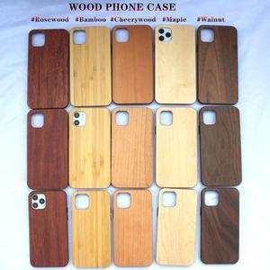 Fabrik Direkte echte Holztelefonkasten für Ipone 12 11 Pro Max hölzerner hinterer Abdeckung mit weichem TPU Stoßdicht Telefon Shell für Samsung