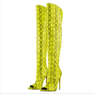 Plus Size 35-44 US 13 14 Fashion Runway Sexy Open Toe Thigh High Boots For Women Gladiator High Heels Boots Over Knee High Women Party Shoes