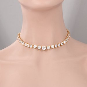 Women Charming Necklace Gold Plated Bling CZ Heart Tennis Chain Necklaces for Girls Women for Party Wedding Nice Gift
