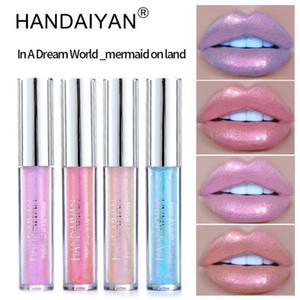 Handaiyan 6Colors Glow Glitter Shimmer Mermaid Lipgloss Lip Tint Moisturizing Waterproof Metal Long Lasting Liquid Lip Gloss Lip Balm