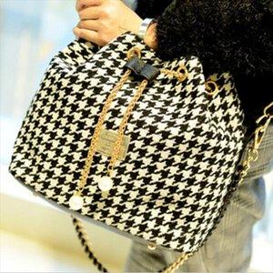 ABDB Women Houndstooth bag fashion bucket bag canvas patchwork shoulder messenger Black and white grid