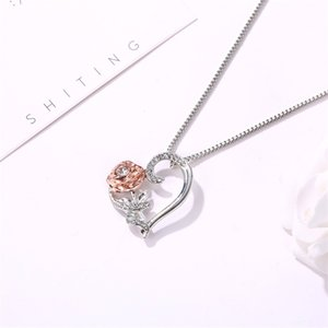 Fashion Rose Heart Pendant Valentines Designer Necklace Womens Jewelry Gifts Women Zircon Allloy Necklace Valentines Day Gift 170 J2