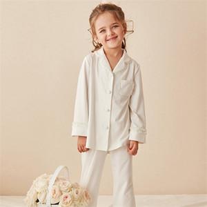 أطفال بنات لوليتا طوق بيجامة Sets.Cotton بلايز + Pants.Toddler الاطفال الرباط البيجامة set.Girl ملابس تنحيف C1019