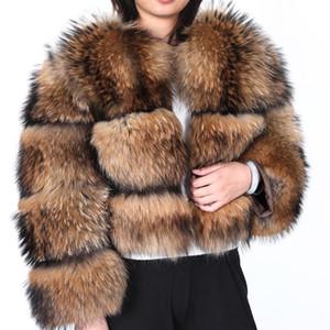 Женская меховая искусственная корейская уличная одежда 2021 зимняя куртка женщины Parka Real Part натуральный воротник енота в шерстяной бомбардировке