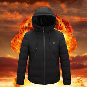 4V eléctrico climatizada capa de la chaqueta con el casquillo USB Calefacción ropa caliente del abdomen brazos hacia atrás climatizada al aire libre impermeable de los deportes de invierno