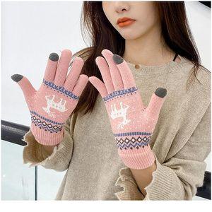 Donne ragazze inverno guanti touch screen guanti moda stile coreano cervi di stampa lana a maglia calda morbida finge finge bysys