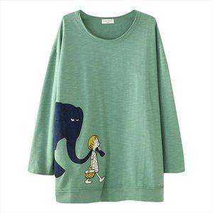 Fashion Women Blouse Autumn 2020 Casual Plus Size Elephant Print Loose Tunic Shirt Blouses Tops O Neck Clothing Dames 828