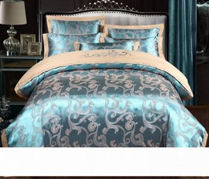 Silk Bedding Set European Style Jacquard Floral Comfortable Duvet Cover Wedding Bedclothes Bed Linen Full Size