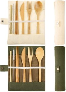 2 Set Bamboo Cutlery Set, Bamboo Travel Eco Friendly Utensils Flatware Set Include Reusable Bamboo Fork Spoon Knife Chopsticks Straws Metal