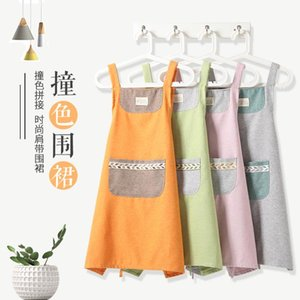 Korean fashion simple and lovely home men and women apron oil-proof anti-pollution apron home kitchen cotton linen cotton