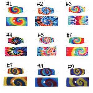 Kravat Boya Saç Bandı Maskeleri Set Spiral Desen Düğmesi Anti-Tasma Saç Maskesi Başörtüsü Aksesuarları Yoga Hareketi Elastik Bandı GWC2656