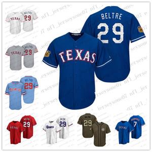 2020 homens personalizados jovens juventude Texasguardas29 Adrian Beltre 7 Ivan Rodriguez Branco Azul Vermelho Réplica Alternate Jersey