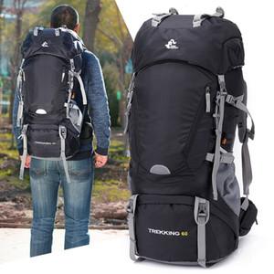 60L Cadre Sac à dos de randonnée Camping Trekking Sac à dos étanche Voyage extérieur Femme / Homme Montagne Rucksack Avec Rain Cover C1008