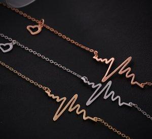 Regalo San Valentino gioielli ECG all'ingrosso Heart Rhythm ECG Cina battito cardiaco ECG della collana di fascino del pendente elettrocardiogramma