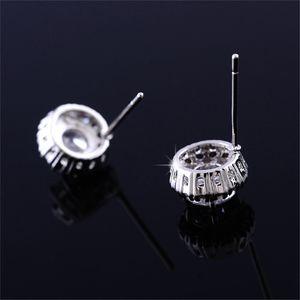 Fashion- New Arrival Best Friends 18K White Gold Plated Earings Big Diamond Earrings for Women White Zircon Earrings