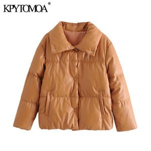 Pelle KPYTOMOA Donne Moda Faux spessore caldo cappotto del rivestimento imbottito maniche lunghe Vintage Tasche femminile Cappotti Chic Top Y201012