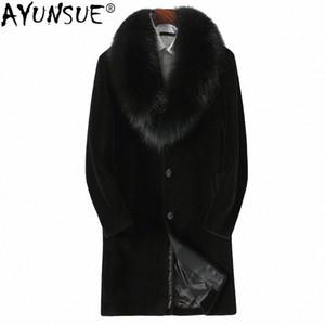 AYUNSUE Shearing Mouton réel Manteau de fourrure d'hiver d'hommes Veste 100% laine Manteau Fourrure véritable collier en cuir véritable Parka Hombre KJ810 # U-Myx