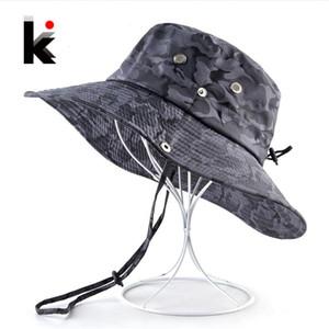 Camouflage Sun Hats For Men Summer Wide Brim Bucket Hat Women Anti-UV Beach Caps Men's Fishing Hunting Bob Cap Visor Chapeu bone