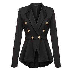 das mulheres Ringmaster Jacket Ruffle Abotoamento Cortar Alta Baixa Casual Trabalho Peplum Blazer Suit