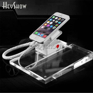 Crystal Transparent Acrylic Phone Security Burglar Alarm Display Stand Holder Loss Prevention White With Cable, Remote Control