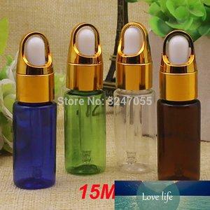 15ML 50PCS 100pcs Boş Plastik Kozmetik Esansiyel Yağı Şişe, Basket Cap ile Yeşil Esans Konteyner, Cam Pipetts Şişeler