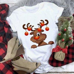 Cute Reindeer T Shirt Women Fashion Christmas Harajuku Short Sleeve T shirt White Suitable All Seasons Tshirt Tops