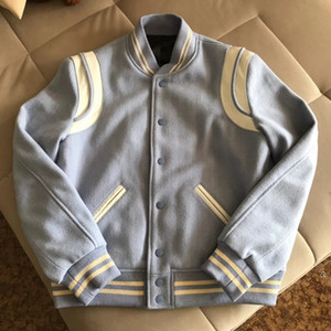 2020 Inverno Nova Moda Mens Designer de Alta Qualidade Luz Azul Jaqueta ~ Casacos de Tamanho Chinês ~ Novas Grandes Jaquetas de Designer para Homens