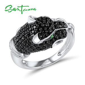 SANTUZZA Silver Ring For Women 925 Sterling Silver Innovative animais Leopard Anel único da Parte Spinels Preto Bijuterias 201112