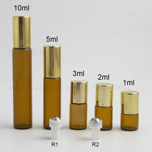 300pcs amber Glass Essential Oil Roller Bottles with Balls Aromatherapy Perfumes Lip Balms Roll On