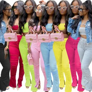 2021 Women Two Piece Set Summer Lounge Wear Tracksuit Off Shoulder Crop Top Split Hem Stacked Legging Pant Casual Plus Size Suit C0123