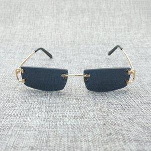 Lunettes de soleil de luxe Hommes Effacer Square Femme Lens Vintage C Pour lunettes Oculos Petites nuances Métal Métal IAWJ Holeux Cadre Gafas Cheaper Out CAZU