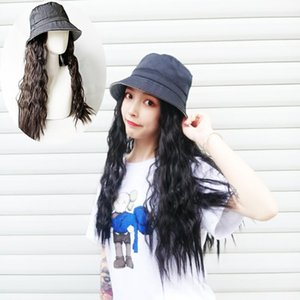3-Colors Natural Fashion Hat Cap Wig Long Curly Hair Big Wave Soft Fluffy Wave Hair Extensions With Black Female Baseball Towel