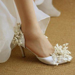 Обувь платья 2021 Летняя заостренная голова пользовательских ручной работы белый / красный 34-42 неглубокие невесты кристалл жемчужины свадьба элегантные сандалии1