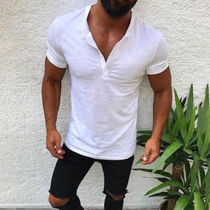 Solid Cotton Summer t Shirt Men's Clothing Button Casual V neck t Shirt streetwear men's T-shirts camiseta masculina