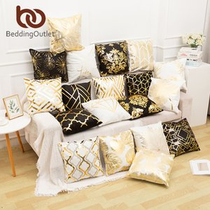 BeddingOutlet Bronzing Cushion Cover Gold Leaf Luxury Pillow Cover Modern Decorative Pillow Case Black White Throw Pillowcase