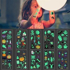 6Pcs Luminous Ghost Taty Kids Fake Glowing in Dark Waterproof Temporary Tattoo Stickers Halloween Party